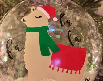 Llama Christmas Ornament, Fa la la ornament, Custom ornament, Llama Ornament