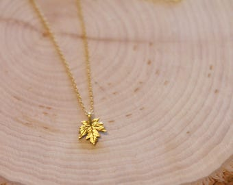 Antique Gold Plated leaf charm on a gold chain