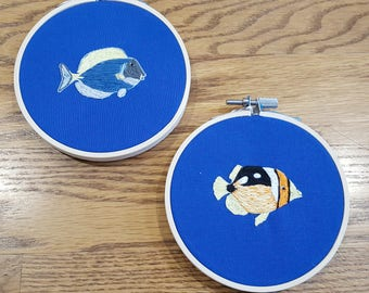 Pair of Fish - Wall Art - Embroidery