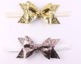 Gold or MultiColor glitter Bow headband