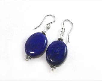 Lapis Lazuli Earrings - Flat Oval and Bali Sterling Silver beads