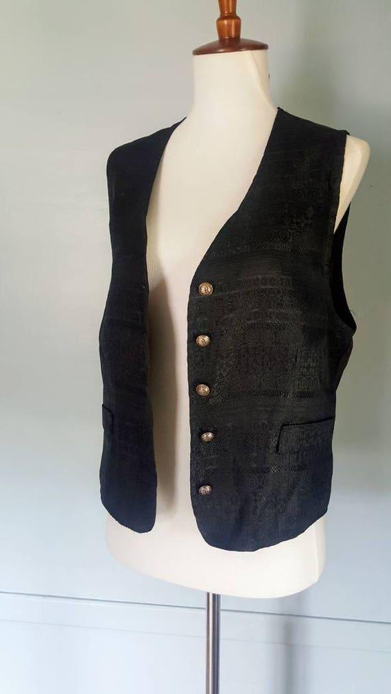 Vintage 90s Worthington ladies silky brocade vest size S/M 90s vest