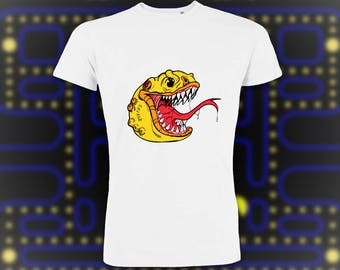 Pacmonster T-shirt, Pacman Black Men's Tee, Black Casual T-Shirt, Graphic Print, Pacman Print, Semi-Fitted Tee, Pacman Gift, Men's Gift
