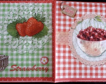 Napkin picking strawberries and cherries