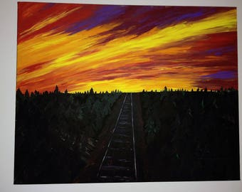 Painting - Train Tracks at Sunset