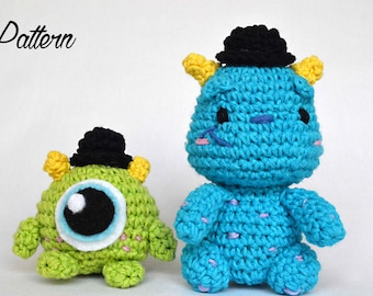 Sulley and Mike amigurumi crochet doll PATTERN- Disney amigurumi- Sulley and Mike plush