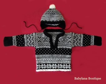 Norwegian baby knitted sweater and hat, nordic sweater, newborn set, baby knitted jumper