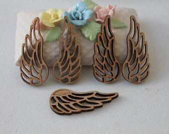 5 wooden jewelry - decoration - fairy - angel wing charm