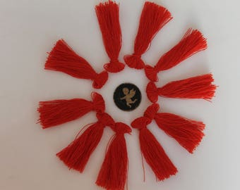 10 tassel red 40 mm - handmade - charms - jewelry-