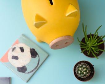 Yellow piggy bank, ceramic piggy bank, PIGZ, housewarming gift, home decor, wedding gift, baby shower, office accessories, kids piggy bank
