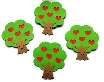 Tree with heart embellishments,,Valentines Day  Embellishments, Scrapbook Embellishments
