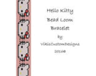 Hello Kitty Bead Loom Bracelet Pattern by VikisCustomDesigns