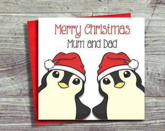 Christmas Card For Mum and Dad, Mother and Father, Grandparents, Personalised