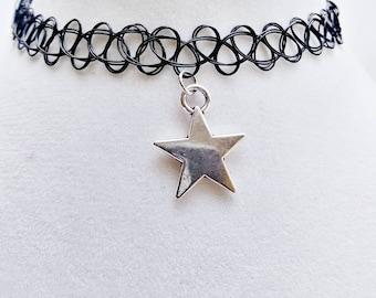 Star charm Black Tattoo Necklace