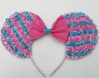Pink and Blue Floral Ears
