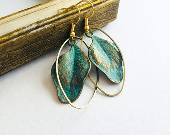 Large Patina Leaf Earrings, Patina Earrings, Boho Earrings, Vintage Earrings, Leaf Earrings, Green Patina Earrings, Verdigris Earrings