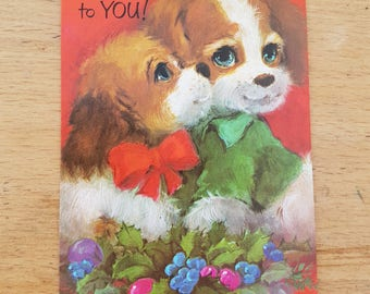 Small Vintage Christmas greetings card, brand new. 1970s Kitsch dogs, puppy
