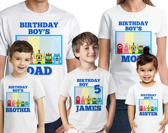Yo Gabba Gabba Birthday Shirt Personalized Name and Age Yo Gabba Gabba Family Shirt Customized Birthday Party Favors