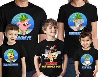 Spongebob Birthday Shirt Personalized Name and Age Customized Spongebob Birthday