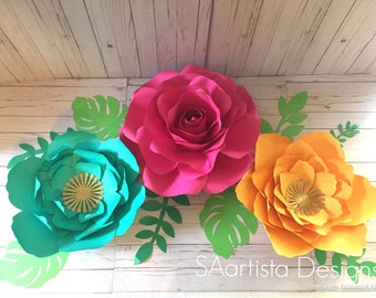 Tropical colored paper flower set