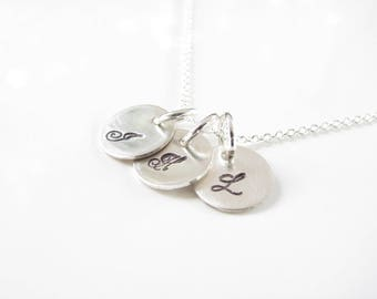 Initial Necklace - 3 Itty Bitty Disk - Hand Stamped, Sterling Silver - Personalized - Hand Made - Sterling Silver Initial Jewelry