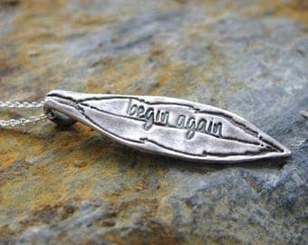 Silver Necklace - Feather Necklace - Feather Pendant - Fine Silver Necklace - Fine Silver Pendant - Begin Again - Inspirational Necklace