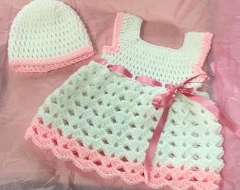 Crochet Newborn Dress and Hat