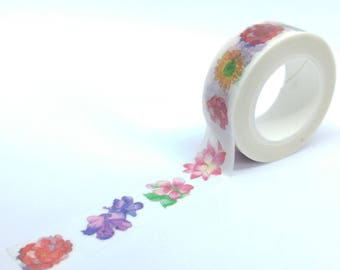 Large flowers washi Tape colorful multicolor 10Mx15mm