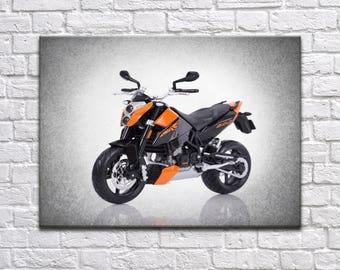KTM 690 DUKE front view wall print, motorcycle decor, Motorcycle poster, motorcycle prints, KTM motorcycle, man cave decor