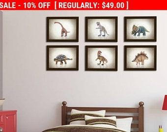 Discount Set of 6 Dinosaurs wall prints, boys room decor, kids wall art, nursery prints, dinosaurs decor, dinosaurs prints, baby boy decor