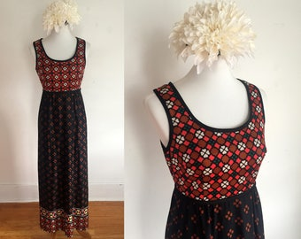 Vintage 1960s Geometric Printed Empire Waist Maxi Dress - Parkshire Original - Size M