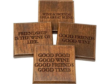 Wine Wood Coasters, Set of 4, Natural Personalized Coasters Perfect Gift for Beer Drinkers or Wine Lovers OOAK