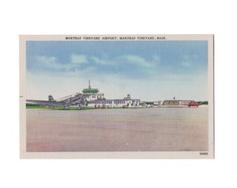 MASSACHUSETTS: Martha's Vineyard Airport - Vintage Linen Postcard, 1940's