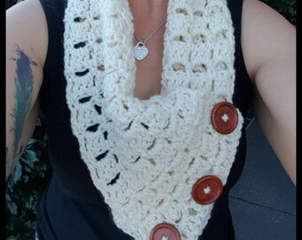 Handmade crochet chunky cowl neck infinity multi-wear scarf - optional comic button