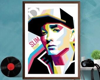 Eminem Slim Shady WPAP Artwork Hip Hop Music Print Poster Canvas / Silk / Matt,A4 , A3 , A2
