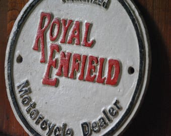 Vintage Royal Enfield Advertising Sign. Classic iron sign for famous motorcycle company. Great gift and highly collectable.
