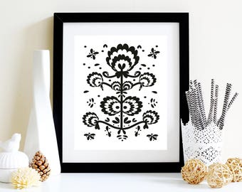 Modern folk art black and white flowers poster