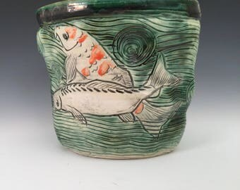 Tall Koi Pond Bowl With Four Koi