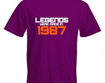 30th birthday Tshirt-Legends were born in 1987 Tshirt-30th birthday gift-original Tshirt-slogan Tee-statement Tshirt-mens short sleeved Tee-