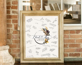 Wedding Guestbook Alternative- Have your guests sign this personalized print- Signature Board- Custom Wedding Art- Harvest Circle