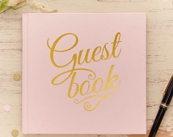 Pink & Gold Foiled Wedding Guestbook, Pink Wedding Guest Book, Pink and Gold Party Guest Book,Baby Shower Guest Book