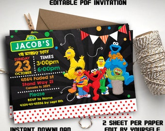 INSTANT DOWNLOAD - Sesame Street Invitation, Sesame Street Birthday Invitation, Sesame Street, elmo editable invitation, Sesame editable pdf