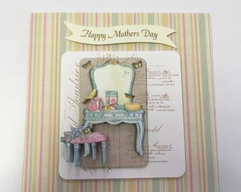 Mother's Day card, mum, Mothering Sunday, vintage, card, pink, green, mummy, mother, decoupage