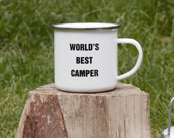 Enamel Mug, Camping Mug, Worlds Best Camper, Gifts for Campers, Camping Gift, Camping Gear, Adventure, Outdoor Gifts, EM001