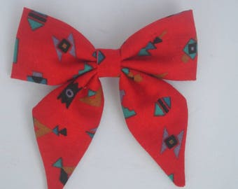 Clip-in bow - tribal bow - red bow - red tribal bow - tribal print