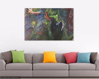 Original Abstract Acrylic Painting on Stretched Canvas, Modern Contemporary Art, Fluid Painting, Large Painting, Wall Decor, OAK Signed