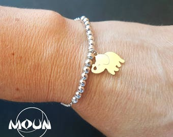 Silver ball bracelet and Lucky Elephant pendant in gold plated silver.