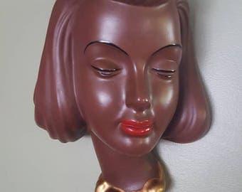 1950's Goldscheider West Germany Wall Sculpture, Head Sculpture, Wall Mask