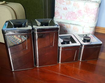 Set of Vintage Chrome Canisters Made by Eaton's Canada