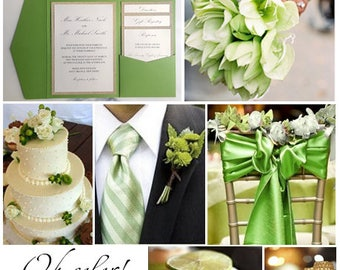 Lime Green Invitations / Green Gold Invitations / Wedding invitations / Lime Green Gold Ivory invites / Lime Green Golden Ivory Wedding